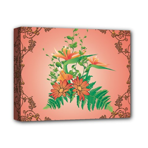 Awesome Flowers And Leaves With Floral Elements On Soft Red Background Deluxe Canvas 14  X 11  by FantasyWorld7