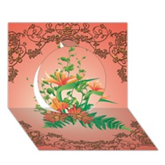 Awesome Flowers And Leaves With Floral Elements On Soft Red Background Circle 3d Greeting Card (7x5)  by FantasyWorld7