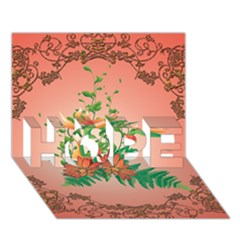 Awesome Flowers And Leaves With Floral Elements On Soft Red Background Hope 3d Greeting Card (7x5)  by FantasyWorld7