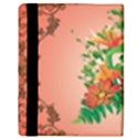 Awesome Flowers And Leaves With Floral Elements On Soft Red Background Apple iPad 3/4 Flip Case View3