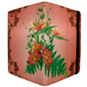 Awesome Flowers And Leaves With Floral Elements On Soft Red Background Apple iPad 3/4 Flip Case View4