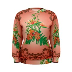 Awesome Flowers And Leaves With Floral Elements On Soft Red Background Women s Sweatshirts by FantasyWorld7