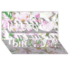 Soft Floral, Spring Happy Birthday 3d Greeting Card (8x4)  by MoreColorsinLife