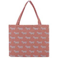 Cute Dachshund Pattern In Peach Tiny Tote Bags