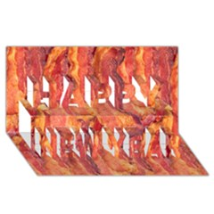 Bacon Happy New Year 3d Greeting Card (8x4)