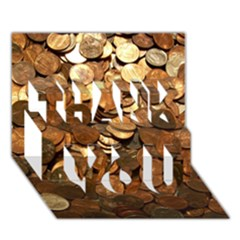 Us Coins Thank You 3d Greeting Card (7x5)  by trendistuff