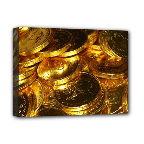 Gold Coins 1 Deluxe Canvas 16  X 12   by trendistuff