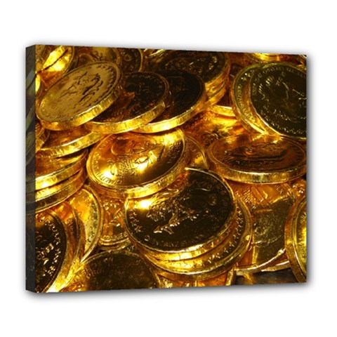 Gold Coins 1 Deluxe Canvas 24  X 20   by trendistuff