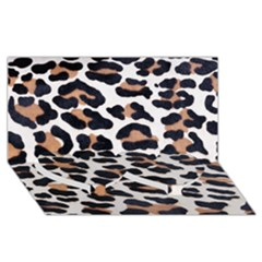 Black And Brown Leopard Twin Heart Bottom 3d Greeting Card (8x4)