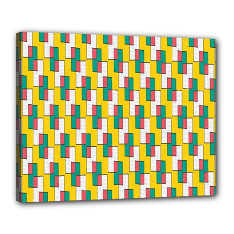 Connected Rectangles Pattern Canvas 20  X 16  (stretched) by LalyLauraFLM