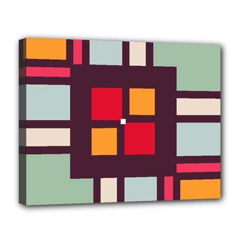 Squares And Stripes  Canvas 14  X 11  (stretched) by LalyLauraFLM