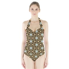 Faux Animal Print Pattern Women s Halter One Piece Swimsuit by creativemom
