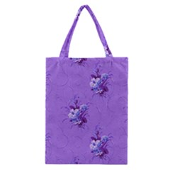 Purple Roses Pattern Classic Tote Bags by LovelyDesigns4U