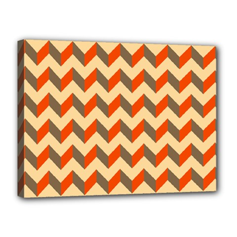 Modern Retro Chevron Patchwork Pattern  Canvas 16  X 12