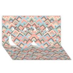 Trendy Chic Modern Chevron Pattern Twin Hearts 3d Greeting Card (8x4)  by creativemom