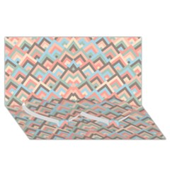 Trendy Chic Modern Chevron Pattern Twin Heart Bottom 3d Greeting Card (8x4)  by creativemom