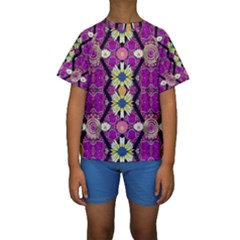 Rose Mandala  Kid s Short Sleeve Swimwear