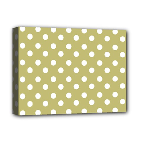 Lime Green Polka Dots Deluxe Canvas 16  X 12   by creativemom