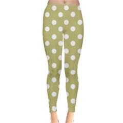 Lime Green Polka Dots Women s Leggings by creativemom