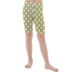 Lime Green Polka Dots Kid s Mid Length Swim Shorts by creativemom