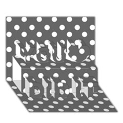 Gray Polka Dots You Did It 3d Greeting Card (7x5) by creativemom