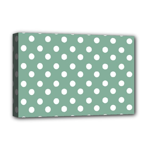 Mint Green Polka Dots Deluxe Canvas 18  X 12   by creativemom