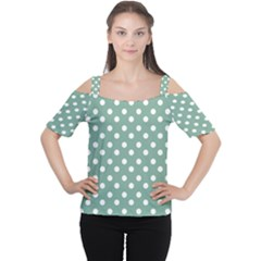 Mint Green Polka Dots Women s Cutout Shoulder Tee