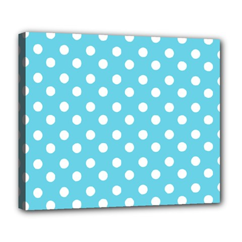 Sky Blue Polka Dots Deluxe Canvas 24  X 20   by creativemom