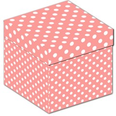 Coral And White Polka Dots Storage Stool 12