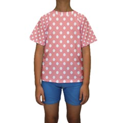 Coral And White Polka Dots Kid s Short Sleeve Swimwear by creativemom
