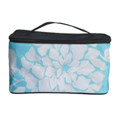 Aqua Blue Floral Pattern Cosmetic Storage Cases by LovelyDesigns4U