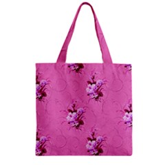 Pink Floral Pattern Zipper Grocery Tote Bags by LovelyDesigns4U