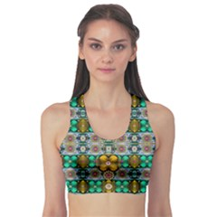 Rainbow Flowers And Decorative Peace  Sports Bra by pepitasart