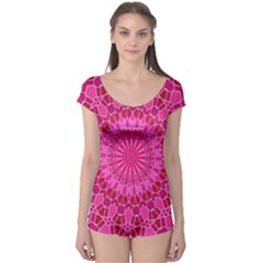 Pink And Red Mandala Short Sleeve Leotard by LovelyDesigns4U