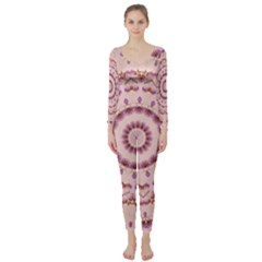 Pink And Purple Roses Mandala Long Sleeve Catsuit