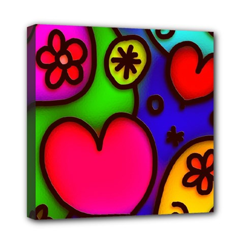 Colorful Modern Love 2 Mini Canvas 8  X 8  by MoreColorsinLife