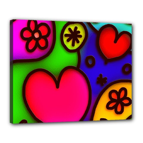 Colorful Modern Love 2 Canvas 20  X 16  by MoreColorsinLife