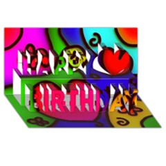 Colorful Modern Love 2 Happy Birthday 3d Greeting Card (8x4)  by MoreColorsinLife