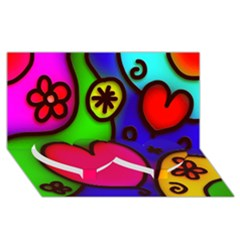 Colorful Modern Love 2 Twin Heart Bottom 3d Greeting Card (8x4)  by MoreColorsinLife