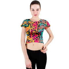Colorful Shapes Crew Neck Crop Top by LalyLauraFLM