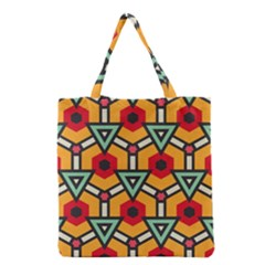 Triangles And Hexagons Pattern Grocery Tote Bag