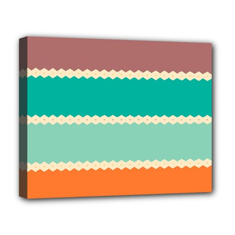 Rhombus And Retro Colors Stripes Pattern Deluxe Canvas 20  X 16  (stretched) by LalyLauraFLM
