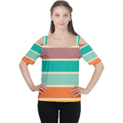 Rhombus And Retro Colors Stripes Pattern Women s Cutout Shoulder Tee
