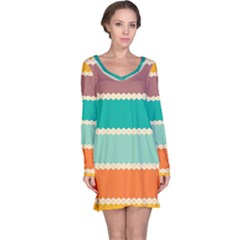 Rhombus And Retro Colors Stripes Pattern Nightdress