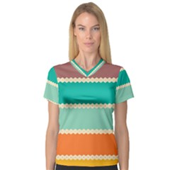 Rhombus And Retro Colors Stripes Pattern Women s V-neck Sport Mesh Tee