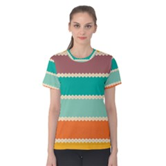 Rhombus And Retro Colors Stripes Pattern Women s Cotton Tee