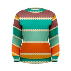 Rhombus And Retro Colors Stripes Pattern  Women s Sweatshirt