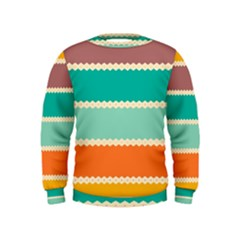 Rhombus And Retro Colors Stripes Pattern  Kid s Sweatshirt