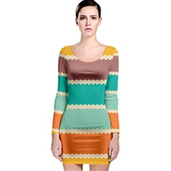 Rhombus And Retro Colors Stripes Pattern Long Sleeve Bodycon Dress