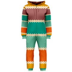 Rhombus And Retro Colors Stripes Pattern Hooded Onepiece Jumpsuit